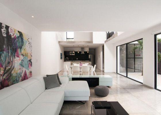 Diseño de sala comedor y cocina minimalista