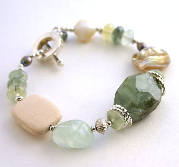 Soft tones Green Prehnite Bracelet by InspiredTheory on Etsy, $15.00