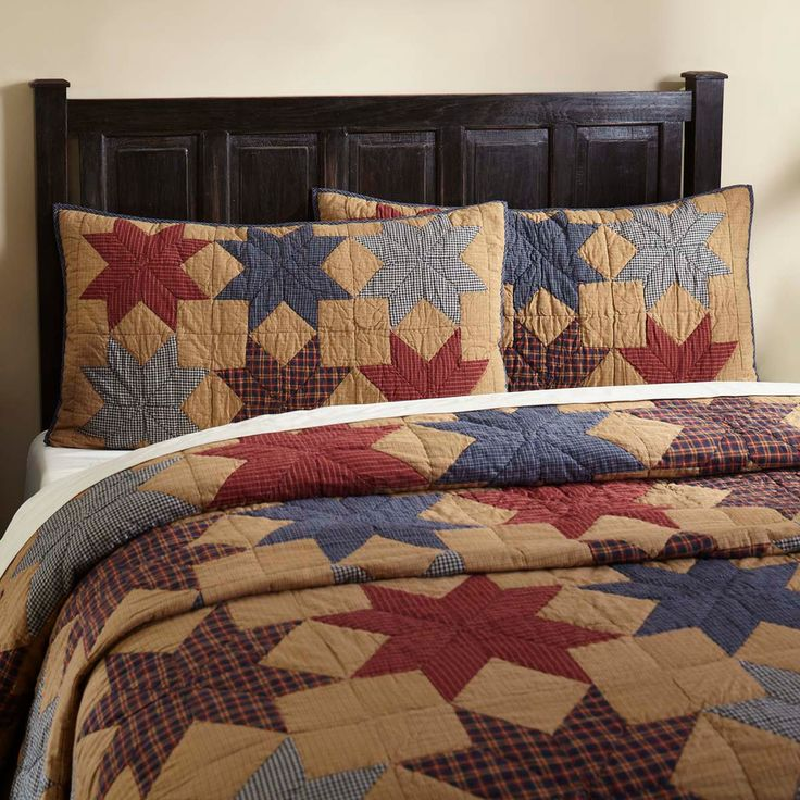 Country Primitive Farmhouse STAR Multi-Colored Cotton Quilt Set QUEEN 4 Piece Se #VHC #Country