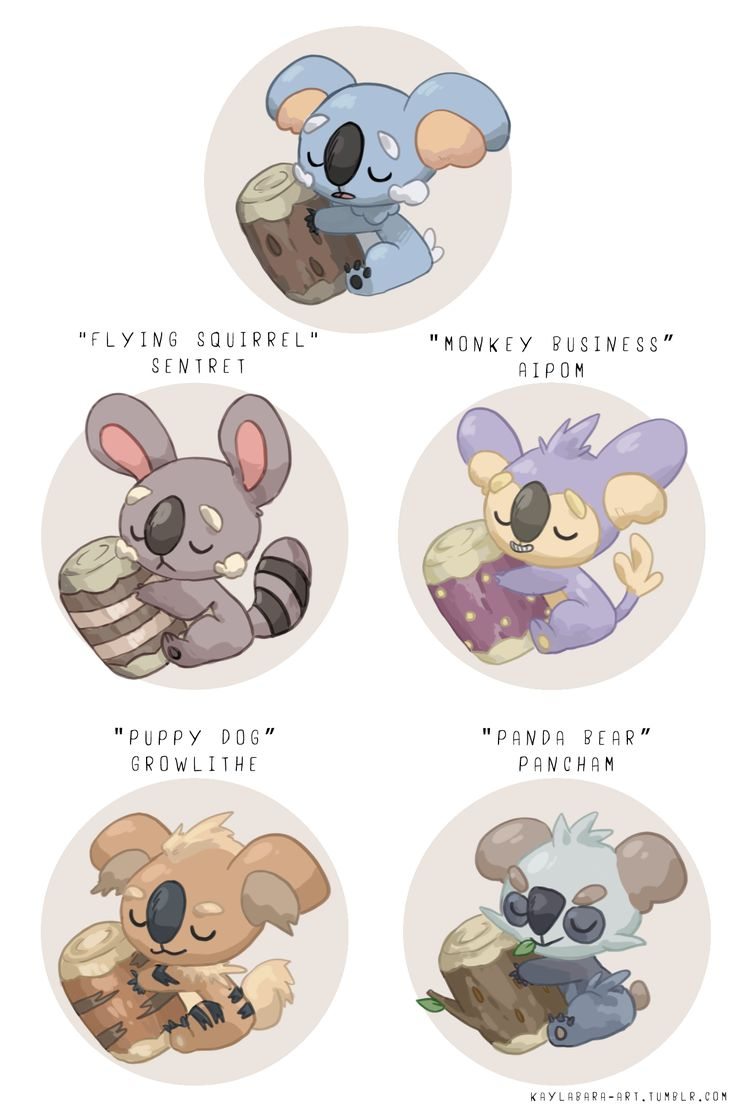 "kaylabara-art: ""jumped on that crossbreed/pokemon variation train. i love komala a lot and basically just found a few other pokemon in its egg group to crossbreed. it was a fun exercise! was..."