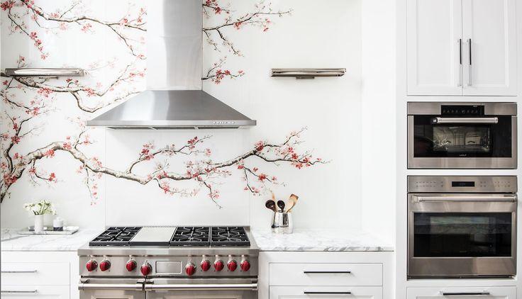 painted glass cherry blossom backsplash