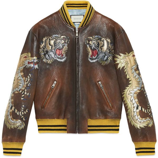 Gucci Leather Bomber Jacket With Intarsia ($7,500) ❤ liked on Polyvore featuring men's fashion, men's clothing, men's outerwear, men's jackets, black, gucci mens jacket, mens leather bomber jacket, mens leather jackets, mens leather flight jacket and mens real leather jackets