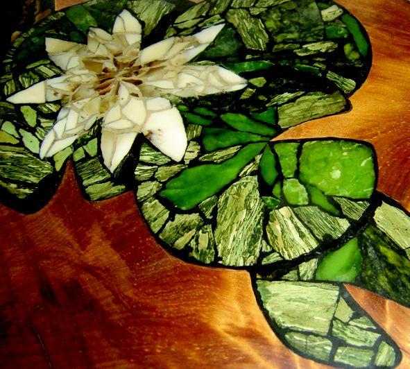 Title: Swamp Kauri & Carp Materials: Swamp Kauri, chert, petrified wood, jade SOLD New Zealand. Tauranga private residence