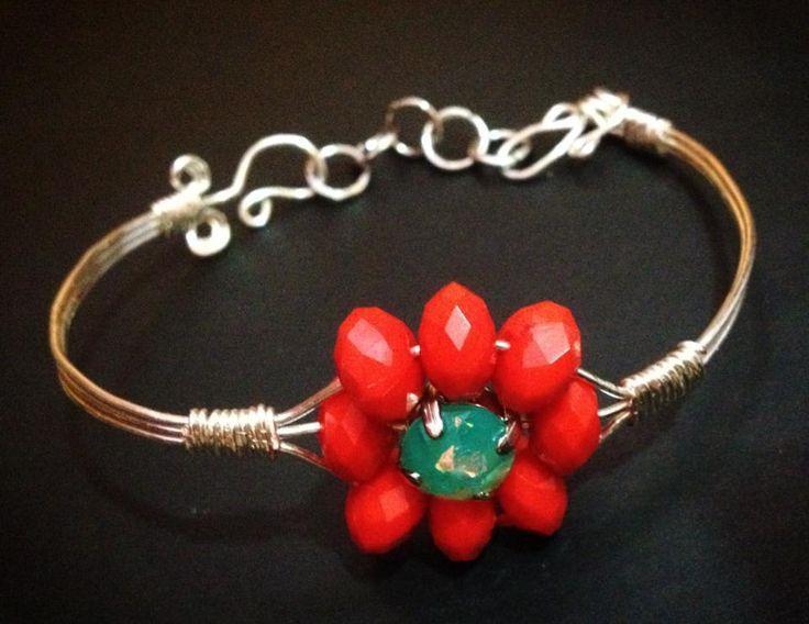 wire bracelet, red flower. handmade , https://www.facebook.com/xtworld?ref=hl