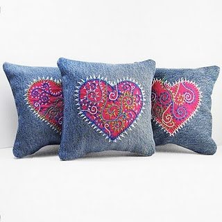 Denim pillows with embroidery work.