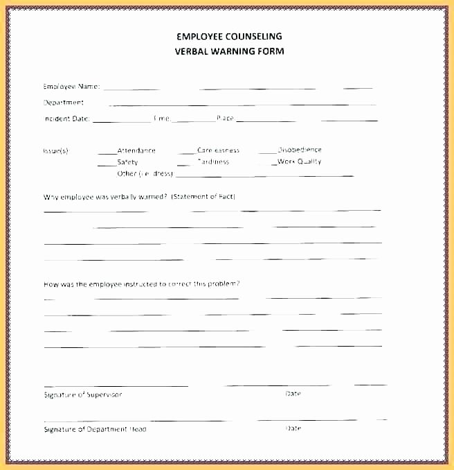 Free Employee Counseling Form Template New Employee Reprimand