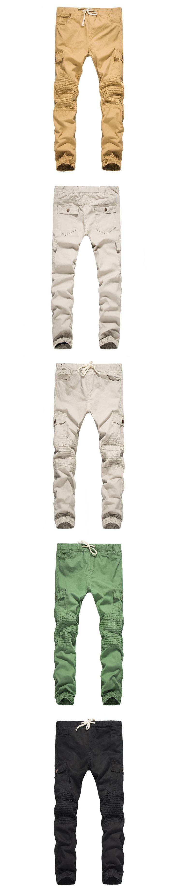 Brand Male New Fashion 2017 Slim Cotton Shredded Shirt Side Bag Wrinkle Pants Casual Pants Man Trousers Designer Mens Joggers