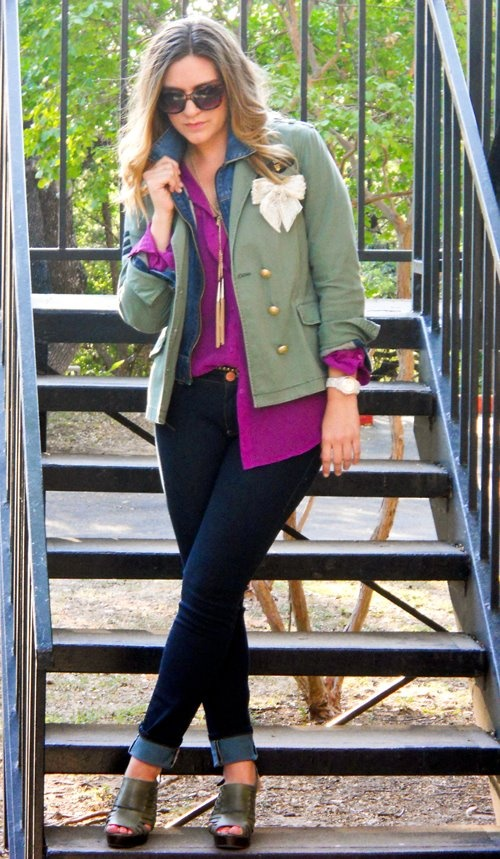 Love Monica Smith's CAbi look here! The Spring '11 Sergeant Jacket, Fall '11 Passion Shirt, and Spring '12 Bree Jeans - j'adore!