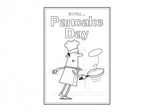 This pancake day poster can be coloured in and stuck on the wall in the kitchen on pancake day!