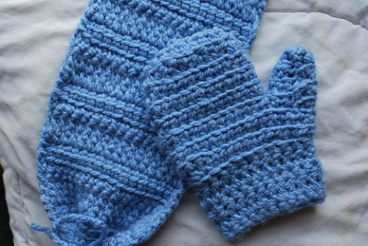 Crochet Pattern: Baby Boy Scarf and Mittens Fun For The ...