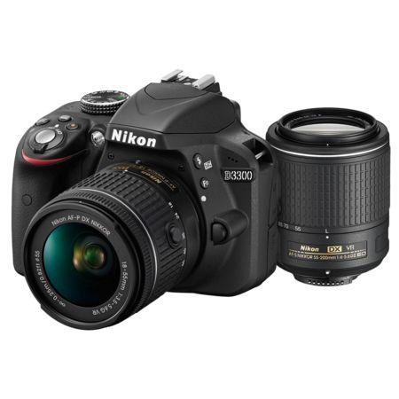 Nikon D3300 Dual Zoom Kit (AF-P 18-55 VR + 55-200 VR II) Senzor CMOS de 24,2 megapixeli în format DX
