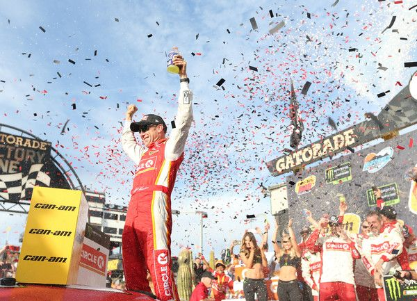 Matt Kenseth, driver of the #20 Circle K Toyota, celebrates in victory lane after winning the Monster Energy NASCAR Cup Series Can-Am 500 at Phoenix International Raceway on November 12, 2017 in Avondale, Arizona.