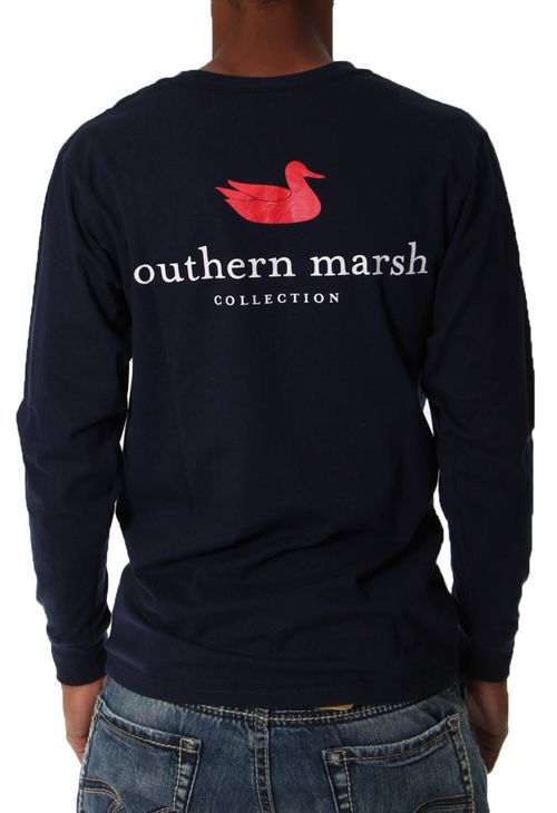 Long Sleeve Authentic T-Shirt in Navy by Southern Marsh