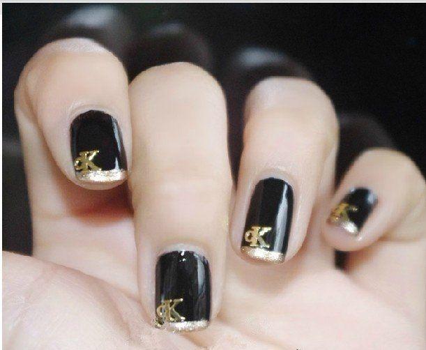 Nail Stickers Design Logo 18k Gold Metal Velvet Nail Stickers Decals