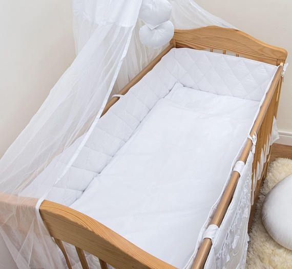 * Luxury Baby Cot or Cot Bed Quilted Safety Bumper * To Fit Cot Bed 140 x 70 cm (4-Sided Bumper) Fits 140 x 70 cm Cot Bed: L 420 cm x W 30 cm All Round Length 420 cm L - Length, W - Width (or height, when bumper is tied to the cot) Main fabric: 100% Cotton. Filling: 100%