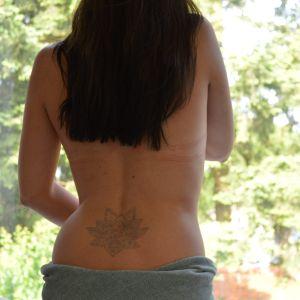 Jagua Henna lotus back tattoo