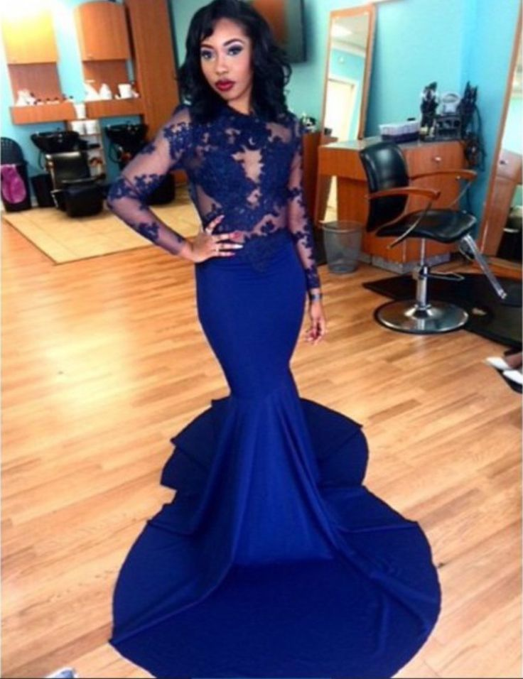 O Neck Royal Blue Mermaid Prom Dresses 2016 Court Train Sheer Lace Top Long Sleeve Evening Party Gowns For Women