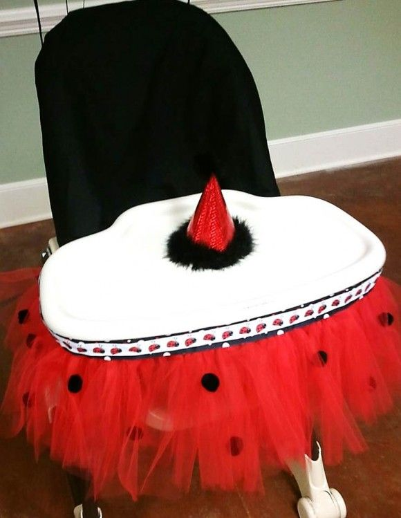 Ladybug Party Ideas   Tutu High Chair   Ladybug High Chair   Red and Black Birthday Party