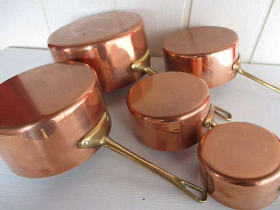 French copper saucepans.Set of French copper pans.Tin lined copper pans.Homestead pans.Traditional pans.Graduated set of copper pans.vintage