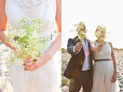 A tie-less suit; a vintage dress; a bunch of Queen Anne's Lace. A pretty laid-back wedding!