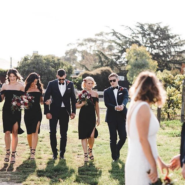 • BRIDE SQUAD • Bow ties and all black • We love this chic wedding party style for One Day Bride Lauren • #oneday #onedaybride #brideaquad #bridesmaid #groomsmen  #Regram via @onedaybridal