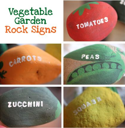 Rock painted garden labels - I will be doing this!