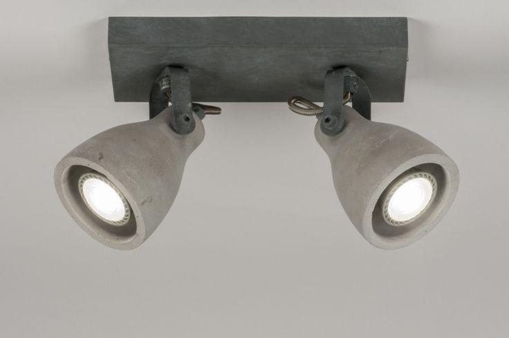Plafondlamp 11021: modern, landelijk rustiek, stoere lampen, betongrijs