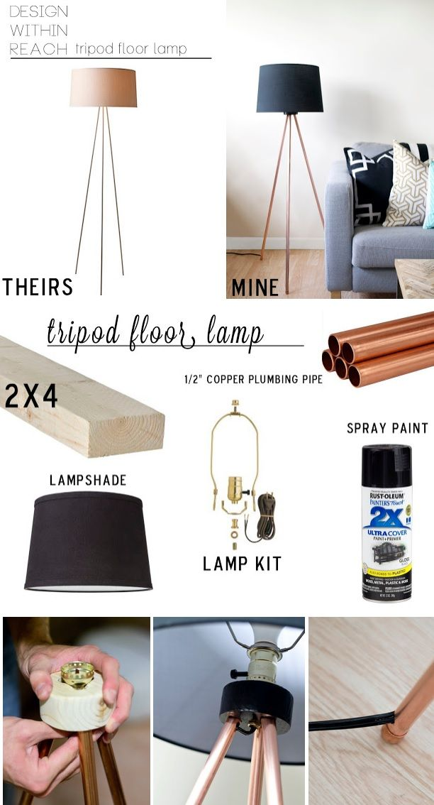 THANK YOU! Have wanted one like this. I would prefer to make a photo tripod light. DIY Tripod Floor Lamp Total $34.50 with 10' copper pipe