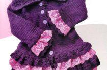 Вязаные пальто и шапочки для девочки