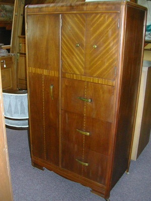 Wow 1920 S Art Deco Inlaid Waterfall Armoire With Cedar