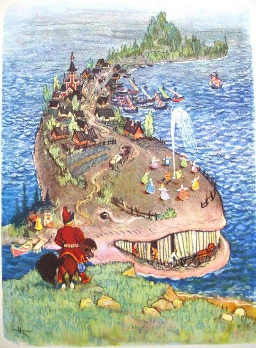 "Russian Fairytales:""The wonder whale"" by Nikolay Kochergin"