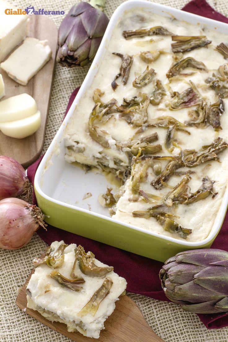 Lasagne di carciofi ai formaggi: perfette per un pranzo di magro e molto amate dagli amici vegetariani! [Artichoke and cheese lasagna]