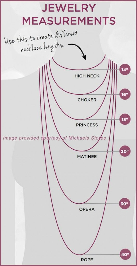 Ever wonder what a Matinee-length necklace is? Or how long you should make a choker? The chart below (provided by Michaels Craft Stores – exclusiveretailer of Halcraft's Bead Gallery l…