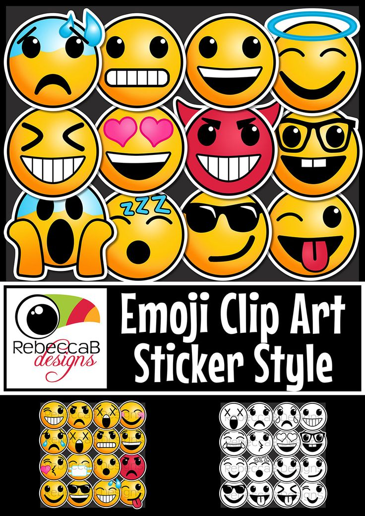 This set of Emoji Clip Art Sticker Style contains 130 images. 65 coloured and 65 black and white, each with a white, sticker style edge. $10! http://designedbyteachers.com.au/marketplace/emoji-clip-art-sticker-style-emoji-faces-smiley-faces/