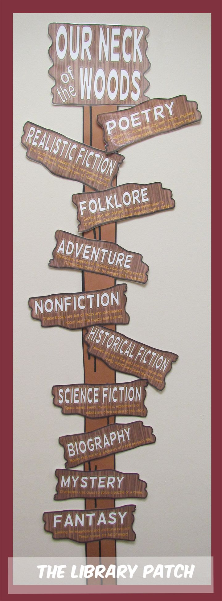 How about decorating your library or classroom with a Camp Read Smore theme?? The Library Patch has a printable bundle of FIVE different wall and bulletin board resources including this genre signpost. ($)