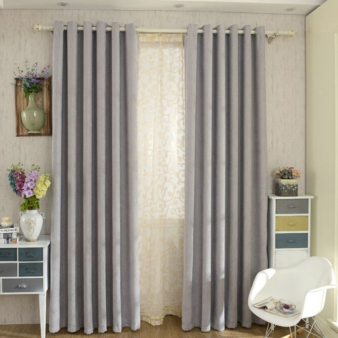 modern chenille grey bedroom curtains blackout grey modern and curtains. Black Bedroom Furniture Sets. Home Design Ideas