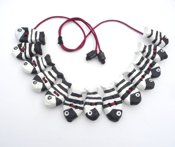 recycled jewelry-Black and white paper necklace with fishes-paper mache necklace