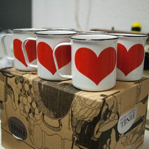 Finel Arabia Red Heart Enamel mugs designed in Finland by Kaj Franck in the 1960s