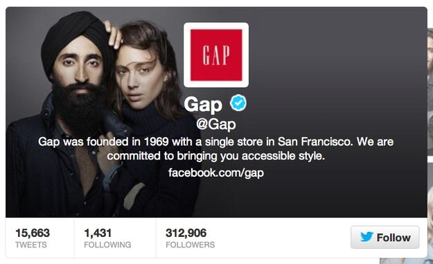 It also immediately changed its Twitter banner photo to the picture featuring Waris Ahluwalia.   Someone Wrote Extremely Racist Comments On A Gap Ad, And Gap Responded Perfectly