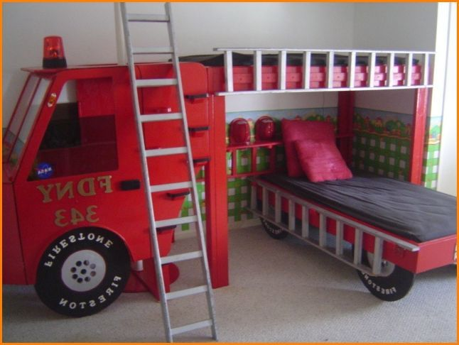 Fire Engine Bunk Bed With Slide Cara Pinterest Recamara Camas