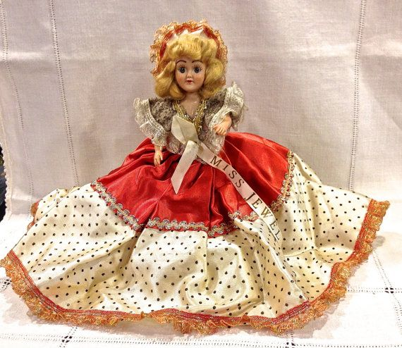 Vintage Duchess Doll Corp, Miss Jewel, Hard Plastic, 8  inch, Sleepy Eye Doll, Jointed Arms, Frozen Legs, Circa 1940s