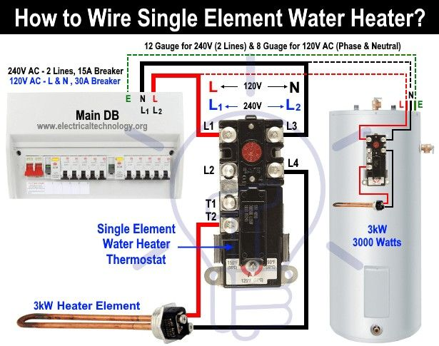 How To Wire Single Element Water Heater And Thermostat In 2020 Water Heater Water Heater Thermostat Water Heater Repair