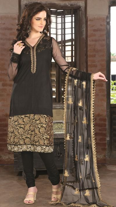 Black Cotton Zardosi Work Churidar Salwar Suit 26885