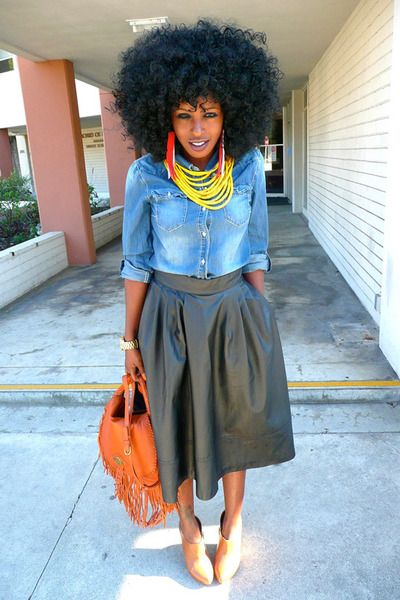 "Blue Denim Shirts, Tawny Rachel Zoe Bags, Black HM Skirts | ""Fringe Leather"" by StylePantry"