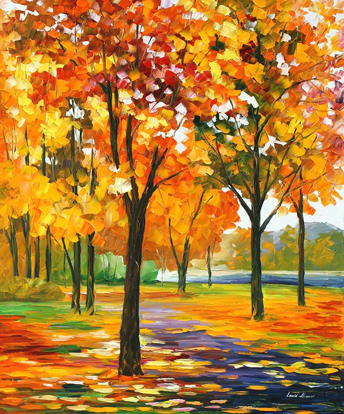 Park By The River Palette Knife Oil Painting On Canvas Autumn Painting Canvas Painting Nature Paintings Acrylic