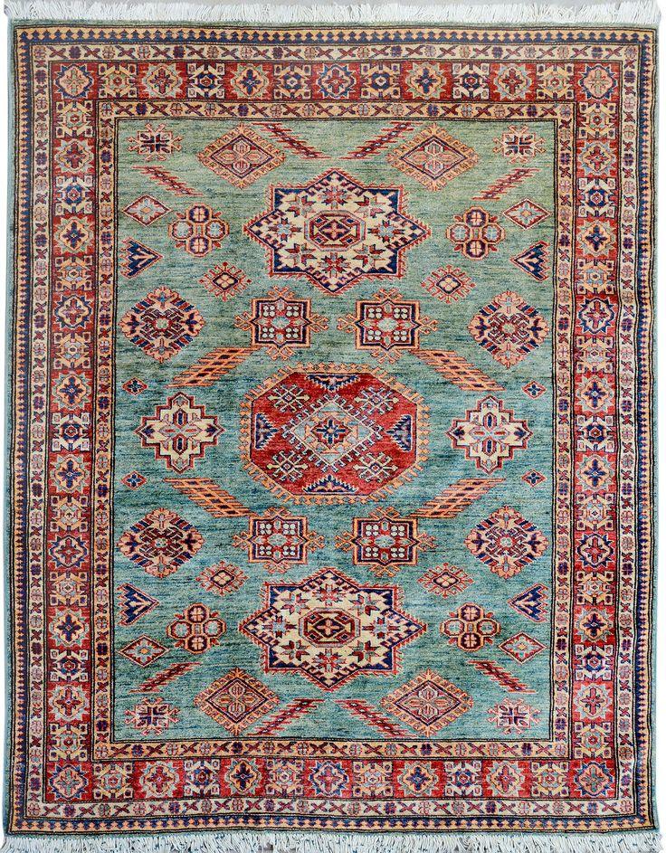 """Turquoise/Green Oriental Kazak Rug 5' 1"""" x 6' 7"""" (ft) - No. 11443 http://alrug.com/turquoise-green-oriental-kazak-rug-5-1-x-6-7-ft-no-11443.html"""