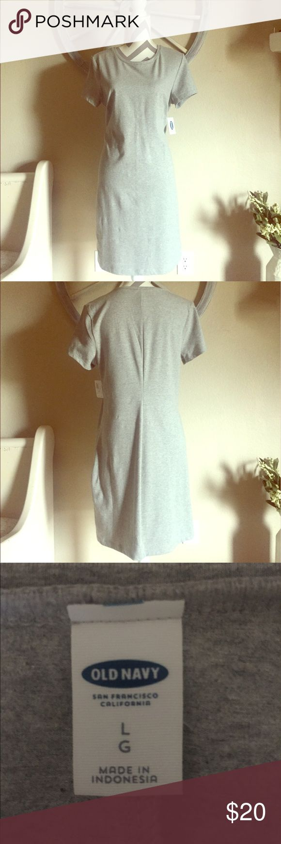 Old Navy Heather Gray T-Shirt Dress Heather gray fitted t-shirt dress. It has darts at the chest and goes in at the waistline. It's cotton/ spandex blend, so it does have some stretch to it! Thicker cotton - not see through. Measurements laid flat: chest 19, waist 17, overall length 37. Old Navy Dresses Midi