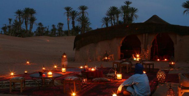 Luxury 3 days tour from Marrakech to Fez via Erg Chebbi dunes. Luxury desert camp with luxurious service level, camel trekking, sand boarding, quads, berber mus