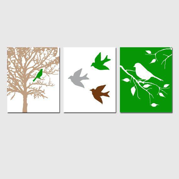 Bird Nursery Art Trio  Set of Three 11x14 Prints  Bird by Tessyla