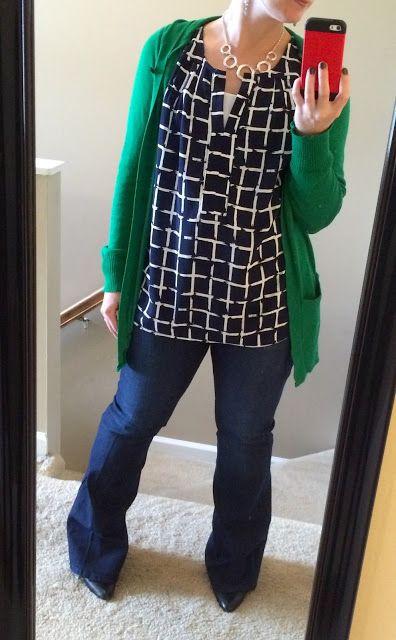 September 2015 Stitch Fix #16 -COLLECTIVE CONCEPTS Salas Split Neck Blouse & DEAR JOHN Marson Wide Leg Denim Trouser - Wandering Lili: My Road Warrior Stories